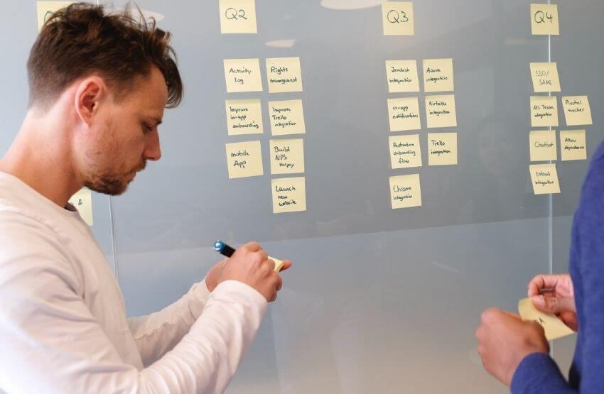 Két férfi sticky note-okkal készít üzleti tervet.